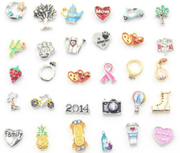 Wholesale Wholesale Memory Lockets Charms - Free Shipping Fashion Floating Charms For Glass Living Memory Floating Locket Mix Design Assorted Charms DIY Alloy Accessories