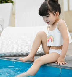 Wholesale Wholesale Bathing Suits For Kids - Kids swimsuits rainbows printed dew shoulder suspender swimwear 2pc clothing sets for girls split swimwear baby bathing suits beachwearT4600