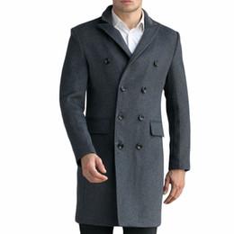 Wholesale Custom Made Wool Coats - Wholesale- Custom-Made Black Grey Men's Luxury Woolen Coats Fashion Slim Wool Overcoat England Style Autumn Winter Cashmere Peacoat