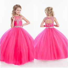 Wholesale Hot Pink Glitz Pageant Dresses - Girls Pageant Dresses Little For Girls Gowns 2017 Toddler Hot Pink Kids Ball Gown Floor Length Glitz Flower Girl Dress For Weddings Beaded