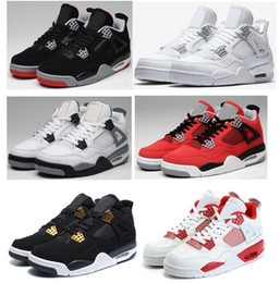 Wholesale orange thread - High Quality 4 4s White Cement Pure Money Basketball Shoes Men Women Bred Royalty Game Royal Sports Sneakers With Shoes Box