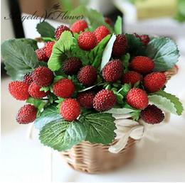 Wholesale Strawberry Baskets - free shipping 9 fruit decoration flower artificial fruit paddle strawberry photo props Artificial plant decoration basket vase