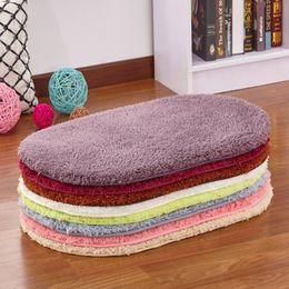 Wholesale oval bathroom - Coral Fleece Bath Mats Floor Protection Mat Oval Bedroom Kitchen Carpet Toilet Bathroom Rug Seat Pad, 9 Colors, tapis de bain