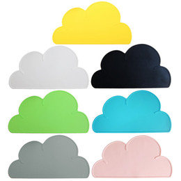 Wholesale Green Kitchen Table - Wholesale- New Cute Cloud Shape Silicone One Mat Modern Kitchen Dining Table Decor Pink Gray White Black Blue Yellow Green