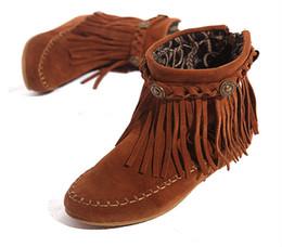 Wholesale Black Fringe Ribbon - Wholesale-US5-9 Suede Leather Moccasin Fringe Tassel Ankle Boots womens wedge shoes
