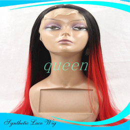 Wholesale Cheap Two Toned Wigs - Cheap Long Wig Ombre two tone Turquoise Red Teal Silk Straight Synthetic Lace Front Wig Glueless Natural Black Red Heat Resistant Hair Wigs