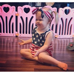 Wholesale Patriotic Clothing - 4th of July Patriotic Girls Jumpsuit Ins Clothes With Headband Baby Kid Clothing For Climbing Dress
