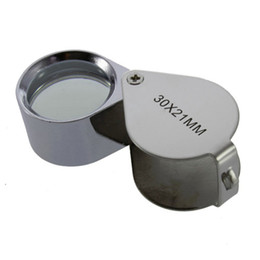 Wholesale loupe jewelers wholesale - New Mini 30X 30x21mm Loupe Magnifier Folding Magnifying Triplet Jewelers Eye Glass Jewelry Diamond Currency Detecting ZA2808