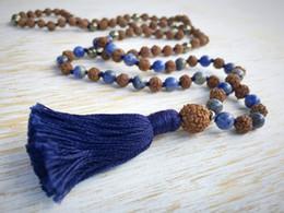 Wholesale Pyrite Necklace - 108 Mala Beads Pyrite Rudraksha Mala Necklace Buddhist Jewelry Knotted Necklace Bodhi Beads Tassel Necklaces Yoga Prayer Necklaces