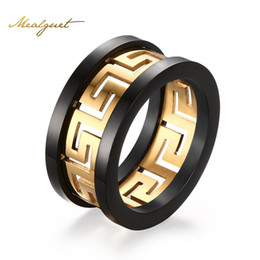 Wholesale accent black - Meaeguet Trendy Greek Key Rings Jewelry Men's Titanium Steel Gold-Color Ring with Highly Polished Black Accent Charm Ring R-170