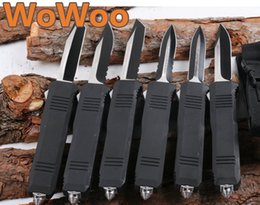 Wholesale Double Edge Blades - WOWOO Benchmade OTF Large C07 Blade 6 Models Spear Tanto Drop Point Serrated Edge Double Single Action Aluminum Handle Pocket EDC Knife