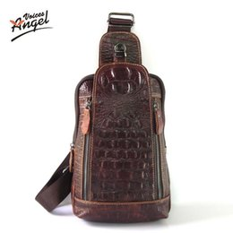 Wholesale Genuine Leather Cross Shoulder Bags - Wholesale- Genuine Leather Men Messenger Shoulder Chest Bags Casual Travel Alligator Crossbody Bags Cross Body Back pack Dollar Price 2016