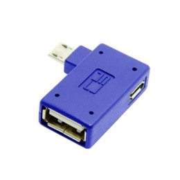 Wholesale Otg Angled Cables - 100pcs Left Angled 90 Degree Micro USB OTG Flash Disk Adapter with Micro Power for Galaxy Note3 S3 S4 i9500 Charge At Same Time
