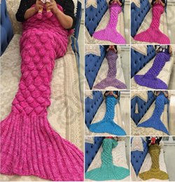 Wholesale Crochet Christmas Bag - Knitted Mermaid Tail Blanket 180*90cm For Kids Soft Warm Handmade Crochet Sleeping Bag Air Condition Blanket Christmas Gift OOA940 50pcs