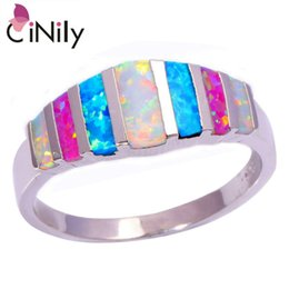 Wholesale Fire Opal Rings Wholesale - CiNily Pink Blue White Fire Opal 925 Silver Stamp HOT SELL Wholesale Retail for Women Jewelry Ring Size 5-13 OJ5449