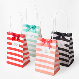 Wholesale Green Gift Paper Bags - Candy Color Paper Bags White Kraft Paper Bags with Handle Shopping Bags For Christmas Wedding Birthday Party Gift Packing Bag
