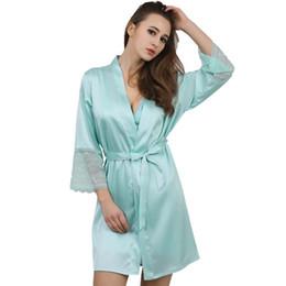 Wholesale Color Silver Lingerie - Wholesale- New Fashion Womens Silk Lace Sleep & Lounge Lingerie Temptation Nightgown Kimono Sleepwear Robe Gown With Belt SZ M - XXL