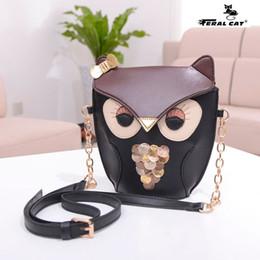Wholesale Fox Messenger Bags - Drop Shipping Pu leather women owl Fox cartoon Cross body shoulder bags Fashion Phone bag purse Cute Chain Messenger Bags