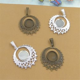 Wholesale Round Pendant Trays - BoYuTe New Product 20Pcs 10MM Round Cabochon Pendant Blank Tray Wholesale Vintage Style Brass Material Diy Jewelry Accessories