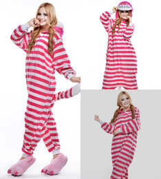 Wholesale Cheap Cosplay - Lovely Cat Cheap Red And White Stripes Easily Kigurumi Pajamas Anime Pyjamas Cosplay Costume Adult Unisex Onesie Dress Sleepwear Halloween
