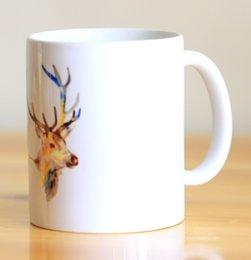 Wholesale China Deer - Wholesale- Watercolor Deer Ceramic Mug Coffee Cup Milk Mug With Handgrip 320ml Home Decoration 11oz