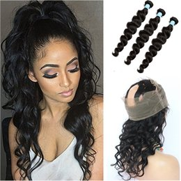 Wholesale Loose Deep Bundles - Brazilian Loose Deep Wave 360 Lace Band Frontal Closure With Bundles 9A Loose Wave Virgin Human Hair With Full Frontal 360 Lace Closure