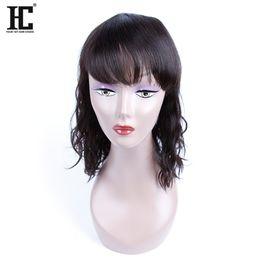 Wholesale Medium Length Full Lace Wigs - HC Hair 100% Virgin Remy Human Hair Charming Mid-Length BOB Natural Wave Cheap Lace Front Human Hair Wigs Natural Hairline Full Lace Wigs