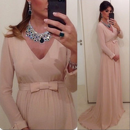 Wholesale Evening Dresses Baby Pink - Chiffon Long Sleeves V Neck Cheap Maternity Evening Dresses Sweep Train Plus Size Custom Inexpensive Baby Shower Dresses