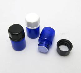 Wholesale Plastic Bottle Painting - 2ML Mini Paint Blue Glass Essential Oil Bottle Orifice Reducer & cap Blue Small Glass Vials 100pcs
