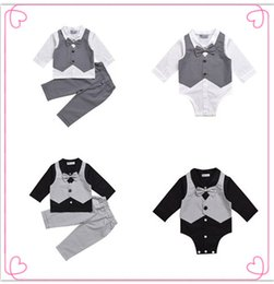 Wholesale Down Baby Romper Winter - 2017 Kids Baby Boy Clothes Suit Vest+bow Shirt Romper+Pants Fake 2 Pieces Formal Gentleman Wedding Clothing Set Age 0-2Y