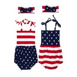 Wholesale Big Boys Summer Clothes - Baby Flag of the United States american Rompers Girl Cotton print romper Big Bows headbands 2pcs sets baby clothes one piece