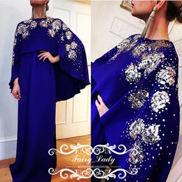 Wholesale Turkey Wears - Royal Blue Cape Prom Dresses With Full Sleeves 2017 Bling Silver Sequins Beading kaftan Turkey Women Long Evening Dress Formal Gowns