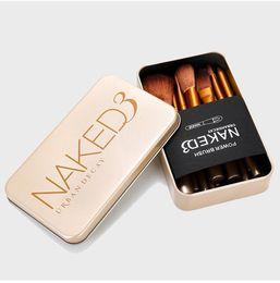 Wholesale Wholesale Makeup Brush Tops - 2017 TOP QUANLITY 12pcs set NAKED3 BRUSH SET Softbale Synthetic professional cosmetic makeup brushes with Tin Box B684