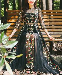 Wholesale Chiffon Heavy - Big black ghost morning glory big place heavy embroidery lace dress dress 1 2 sleeve skirt to send belt