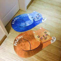 Wholesale 3d floor mats - Cat Entrance Doormats Sleeping Cartoon 3D Printed Carpet Living Room Bedroom Door Mat Anti Slip Floor Mats Bathrooms Rugs 32as F R