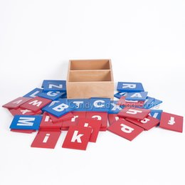 Wholesale Educational Letters - Wholesale- Baby Toys Montessori Capital Case Sandpaper Letters Boxes Wooden Kids Educational Early Development Toys For Children