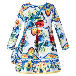 Wholesale Dresses Pleated Patterned - Toddler Girls Dresses 2016 Autumn Princess Dress with Bag Robe Fille Enfant Print Pattern Girl Dress Long Sleeve Kids Clothes