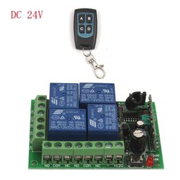 Wholesale 433mhz Remote Relay - Wholesale- 24V 4 Channel Auto RF Wireless Remote Control Module Relay Receiver 315 433MHz