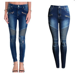 Wholesale Jeans Stretch Femme Slim Fashion - 2077 Women`s Fashion Punk Motorcyle Patchwork Stretch Slim Fit Ripped Denim Pants Skinny Jeans Woman High Waist Jeans Femme