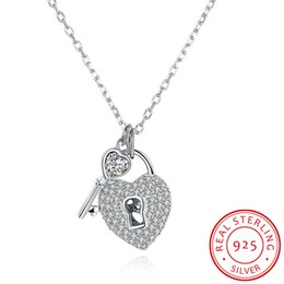 Wholesale Locking Heart Necklace - 925 Sterling Silver Heart lock key cubic zirconia Pendant Necklace for Women Fashion Popular Necklace Jewelry valentines gift N056