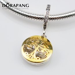 Wholesale Family Locket - DORAPANG Authentic 925 Sterling Silver Bead Charm Gold Family Roots two-tone locket Pendant Bead Fit Women Bracelet Bangle Diy Jewelry