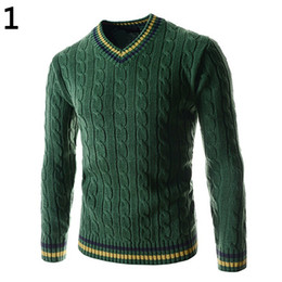 Wholesale British Matches - Wholesale- Men's Fashion British Style Warm Winter Slim Long Sleeve All Match V Neck Sweater