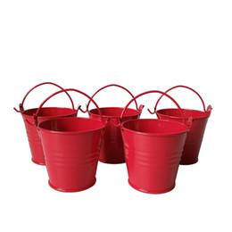 Wholesale Small Potted Artificial Flowers - D6*H5CM Cheap red color Metal mini Pail Tin bucket small Succlents Pots Decorative Iron pots garden supplies