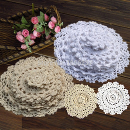 Wholesale Vintage Hand Crocheted - Wholesale-24Pcs 100% Cotton Hand Made Crochet Doilies Cup Mat Pad Coaster 12 Vintage Crochet Motifs 5-18cm White Beige HD044