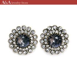 Canada Boucles d'oreilles brillamment noir strass tournesols forme vintage boucles d'oreilles pour les femmes robe de soirée Offre