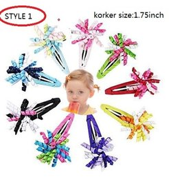 Wholesale Curling Ribbon Wholesale - 4 style available korker hair clip Grosgrain Ribbons curled Corkscrew curly Boutique Girls Hair Bow Clips Barrettes 50pcs