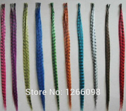 Wholesale Feather Hairpieces - Wholesale-20pcs new arrival good quality hairpiece grizzly feather hair extension with free beads & hook Free shipping