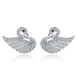 Wholesale Wing Shaped Earrings - NEKANI Real 925 Sterling Silver Earrings Stud Earrings Womens Girls Fashion Jewelry Swan Wings Heart Flower Shape