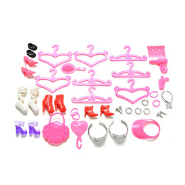 Wholesale Gift Comb Set - Colorful 45 Pcs Set Shoes Bag Hanger Comb Bracelet For Barbie Dolls Toys Child Girls Gift Doll Accessories