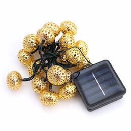 Wholesale Iron Morocco - Morocco 20LED ball solar string light solar Lamp Series Iron Plating Ball Lamp Household Decorative Lamp